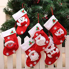 cheap Christmas Decorations-Santa Snowman Pendant Christmas Ornaments New Year Snowflake Socks Christmas Decorations for Home Merry Christmas Tree Decor-6Pcs
