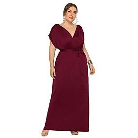 preiswerte Damenbekleidung-Damen Grundlegend Schlank Tunika Kleid Solide Maxi V-Ausschnitt