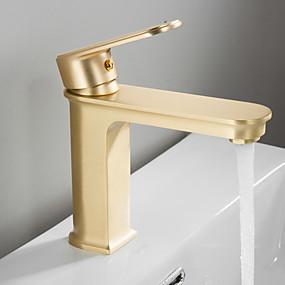 preiswerte Armaturen-Waschbecken Wasserhahn - Regendusche Gebürstet Freistehend Einhand Ein LochBath Taps