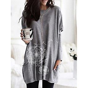 preiswerte Damenbekleidung-Damen Blumen T-shirt, V-Ausschnitt Schwarz