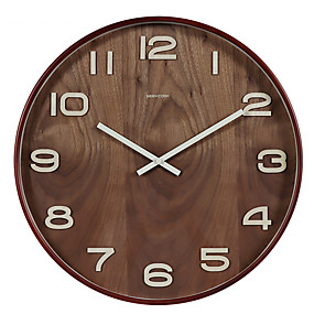 cheap Rustic Wall Clocks-Modern Contemporary Wooden Round Indoor Battery Decoration Wall Clock Mirror Polished No