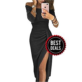 preiswerte Damenbekleidung-Damen Grundlegend Hülle Kleid Solide Midi Schulterfrei