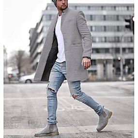 preiswerte Herrenmode-Herrn Alltag EU- / US-Größe Standard Mantel, Solide Gekerbtes Revers Langarm Polyester Schwarz / Blau / Grau / Schlank