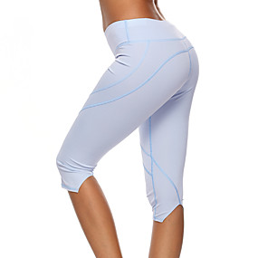 cheap Women-Women's High Waist Yoga Pants Capri Leggings Tummy Control Butt Lift Breathable Solid Color Black Light Green Light Purple Fitness Gym Workout Sports Activewear High Elasticity Skinny