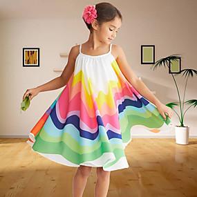 baratos 2020 Tendência-Infantil Bébé Para Meninas Doce Estilo bonito Floral Retalhos Sem Manga Altura dos Joelhos Vestido Arco-íris