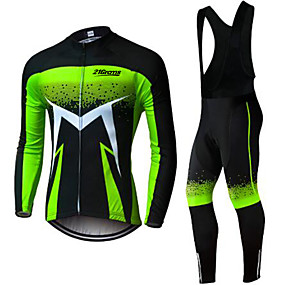 cheap Cycling & Motorcycling-21Grams Men's Long Sleeve Cycling Jersey with Bib Tights Winter Spandex Polyester Green / Black Solid Color Bike Clothing Suit UV Resistant Quick Dry Back Pocket Sports Patterned Mountain Bike MTB