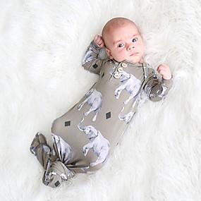 preiswerte Unterwäsche & Socken für Babys-Baby Mädchen Druck Tiermuster / Druck Langarm Schlafanzüge Regenbogen