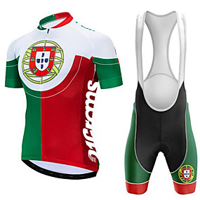 cheap Cycling & Motorcycling-21Grams Portugal National Flag Men's Short Sleeve Cycling Jersey with Bib Shorts - Red / White Bike Clothing Suit UV Resistant Quick Dry Back Pocket Sports Winter 100% Polyester Mountain Bike MTB