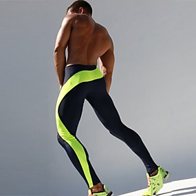 cheap Running, Jogging & Walking-Men's Running Tights Compression Pants Patchwork Elastane Sports Compression Clothing Tights Running Fitness Gym Workout Exercise Breathable Quick Dry Sweat-wicking Color Block Green Blue / Skinny