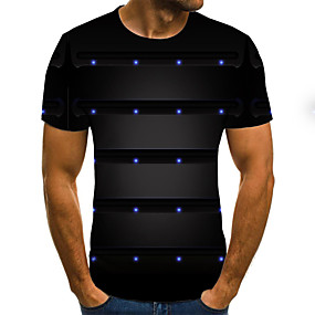 cheap Athleisure Wear-Men's T shirt Graphic Color Block Geometric 3D Print Short Sleeve Holiday Tops Streetwear Punk & Gothic Black