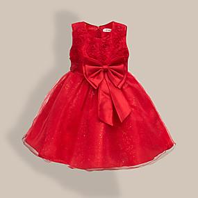 preiswerte Baby & Kinder-Kinder Baby Mädchen Süß nette Art Blumen Solide Schleife Ärmellos Knielang Kleid Leicht Blau