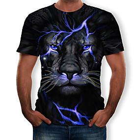 preiswerte Herrenmode-Herrn 3D / Tier - Street Schick / Übertrieben Übergrössen T-shirt, Rundhalsausschnitt Gefaltet / Druck Blau / Kurzarm