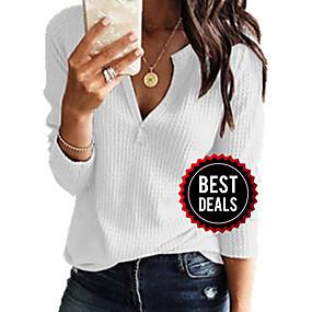 preiswerte Damenbekleidung-Damen Freizeit / Grundlegend Gestrickt Solide Langarm Pullover Pullover Jumper, V-Ausschnitt Frühling / Herbst Schwarz / Weiß / Rosa S / M / L