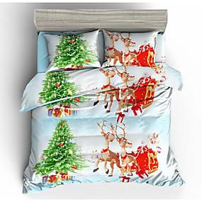 preiswerte Karikatur-Duvet-Abdeckungen-heiraten Weihnachten Bettwäsche Set Weihnachtsmann Geschenk gedruckt 3d Kissenbezug und Bettbezug Set rote Bettwäsche Bettwäsche
