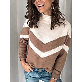 preiswerte -0.7-Damen Gestreift Langarm Pullover Pullover Jumper, Rollkragen Khaki M / L / XL