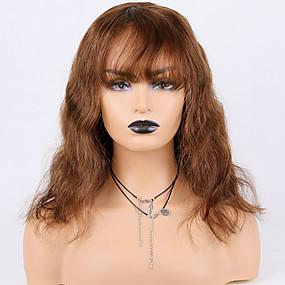povoljno Bob Style Lace Wigs-Ljudska kosa Lace Front Perika Duboko udaljavanje stil Brazilska kosa Wavy Smeđa Perika 130% Gustoća kose Žene Žene Srednja dužina Perike s ljudskom kosom Premierwigs