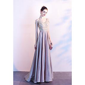 preiswerte Hochzeiten & Events-A-Linie V-Ausschnitt Boden-Länge Polyester Formeller Abend Kleid mit Perlenstickerei durch LAN TING Express / Transparente