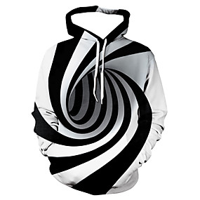 cheap Graphic Hoodies-Men's Hoodie Sweatshirt Black Hoodie Pullover Sweatshirt Geometric 3D Print Hooded Casual Basic Hoodies Sweatshirts  Long Sleeve White / Fall / Winter