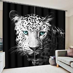 preiswerte 3D Vorhänge-blue eye leopard digitaldruck 3d vorhang verdunkelungsvorhang hochpräzise schwarz seidenstoff hochwertigen vorhang