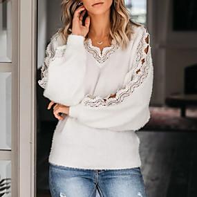 preiswerte -0.7-Damen Solide Langarm Pullover Pullover Jumper, V-Ausschnitt Weiß M / L / XL