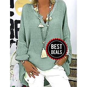 preiswerte Damenbekleidung-Damen Solide Übergrössen Bluse, V-Ausschnitt Lose Schwarz