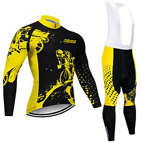cheap Cycling & Motorcycling-21Grams Men's Long Sleeve Cycling Jersey with Bib Tights Winter Spandex Polyester Black / Yellow Solid Color Bike Clothing Suit UV Resistant Quick Dry Back Pocket Sports Patterned Mountain Bike MTB