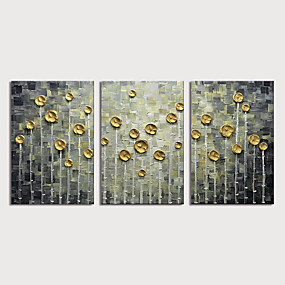 cheap Wall Art New Arrivals-Oil Painting Hand Painted - Abstract Floral / Botanical Modern Stretched Canvas / Three Panels