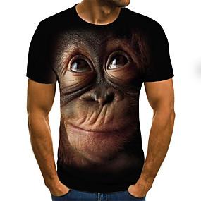 preiswerte Herrenmode-Herrn Geometrisch / 3D / Tier - Street Schick / Übertrieben Übergrössen T-shirt, Rundhalsausschnitt Gefaltet / Druck Schwarz / Kurzarm