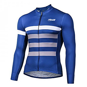 cheap Cycling & Motorcycling-21Grams Men's Long Sleeve Cycling Jersey Winter Spandex Polyester Blue+White Bike Jersey Top Mountain Bike MTB Road Bike Cycling UV Resistant Quick Dry Breathable Sports Clothing Apparel / Stretchy