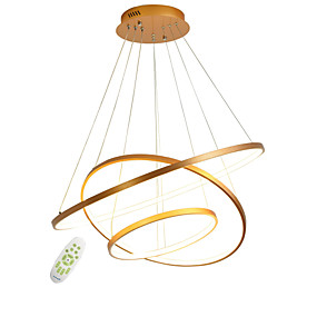cheap Ceiling Lights & Fans-1-Light Modern Electrodeless Dimming Led Pendant Lights 100W Simplicity Three Rings office Living Room Bedroom Restaurant Chandelier