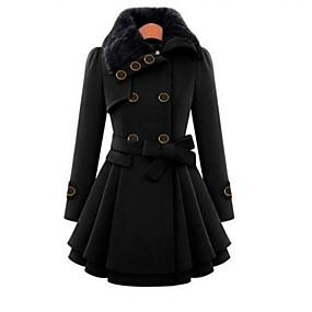 preiswerte Damenbekleidung-Damen Alltag Herbst / Winter Lang Mantel, Solide Umlegekragen Langarm Polyester Schwarz / Rote / Kamel
