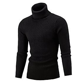 cheap Athleisure Wear-Men's Color Block Pullover Long Sleeve Sweater Cardigans Turtleneck Winter White Black Wine