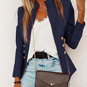 preiswerte Damenbekleidung-Damen Alltag Standard Jacke, Solide Ständer Langarm Polyester Schwarz / Rote / Marineblau