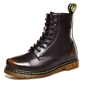 cheap Shoes & Bags-Men's Combat Boots Cowhide Winter Boots Booties / Ankle Boots Black / Brown / Red