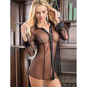 preiswerte Anzüge-Damen Gitter Super Sexy Hemden & Kleider Nachtwäsche Solide Schwarz Purpur S M L / Hemdkragen