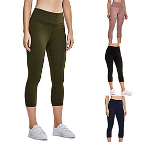 cheap Yoga & Fitness-Women's High Waist Yoga Pants Capri Leggings Butt Lift Breathable Moisture Wicking Black Army Green Pink Gym Workout Fitness Sports Activewear High Elasticity Skinny