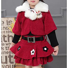 preiswerte Baby & Kinder-Kinder Mädchen Grundlegend Geometrisch Weihnachten Langarm Kleidungs Set Fuchsia