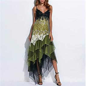 preiswerte Damenbekleidung-Damen Elegant Spitze Hülle Kleid - Druck, Geometrisch Asymmetrisch Gurt
