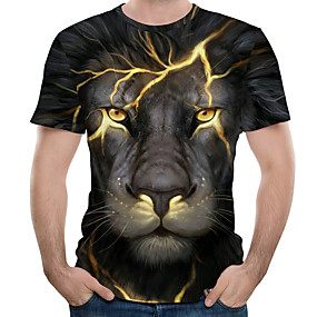 cheap Casual Wear-Men's Tee T shirt 3D Print Graphic Lion Animal Plus Size Print Short Sleeve Causal Tops Streetwear Exaggerated Blue Purple Red / Summer