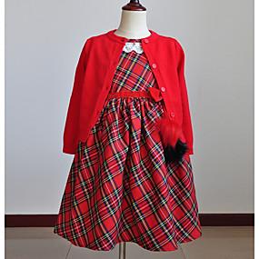 preiswerte Baby & Kinder-Baby Mädchen Schachbrett Weihnachten Kleid Rote