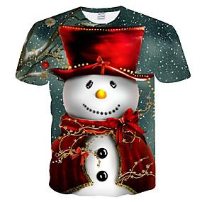 cheap Athleisure Wear-Men's T shirt Graphic 3D Patchwork Print Short Sleeve Daily Tops Basic Streetwear Gray
