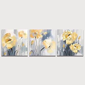 preiswerte Neue im Sortiment-Hang-Ölgemälde Handgemalte - Blumenmuster / Botanisch Modern Fügen Innenrahmen / Drei Paneele