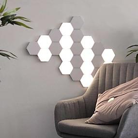 preiswerte Ungewöhnliche Lampen und Lichter-3pcs Quantum Lampe führte sechseckige Lampen modulares berührungsempfindliches Beleuchtungsnachtlicht magnetisches Hexagonwand lampara
