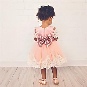 preiswerte Baby & Kinder-Kinder Baby Mädchen Süß nette Art Solide Spitzenbesatz Kurzarm Übers Knie Kleid Rosa