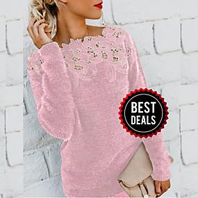 preiswerte Damenbekleidung-Damen Solide Langarm Pullover Pullover Jumper, Rundhalsausschnitt Schwarz / Wein / Purpur S / M / L