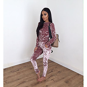 cheap Running & Jogging-Women's Tracksuit Sweatsuit Jogging Suit Casual Winter Long Sleeve Velour Thermal Warm Warm Breathable Fitness Running Sportswear Solid Colored Dark Grey Black Burgundy Pink Royal Blue Gray Activewear