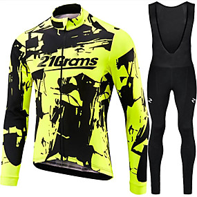 cheap Cycling & Motorcycling-21Grams Men's Long Sleeve Cycling Jersey with Bib Tights Winter Spandex Polyester Green / Black Bike Clothing Suit UV Resistant Quick Dry Sports Solid Color Mountain Bike MTB Road Bike Cycling