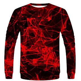 preiswerte Herrenmode-Herrn Geometrisch / Einfarbig / 3D - Street Schick / Übertrieben EU- / US-Größe T-shirt, Rundhalsausschnitt Rote / Langarm