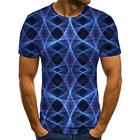 cheap Athleisure Wear-Men's T shirt Graphic 3D Skull Plus Size Print Short Sleeve Daily Tops Basic Exaggerated Royal Blue
