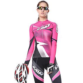 cheap Women-Mountainpeak Women's Long Sleeve Cycling Jersey with Tights Winter Fleece Bule / Black Black / Yellow Black+White Stripes Bike Clothing Suit Thermal Warm Fleece Lining 3D Pad Warm Quick Dry Sports